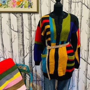 Vintage 90s Color Block Rainbow Chunky Cardigan